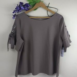 NWT Worthington Taupe Blouse w/ Tie Sleeve Details